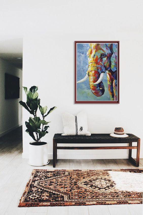 Tranh sơn dầu họa sỹ sáng tác vẽ tay: VOI 1
