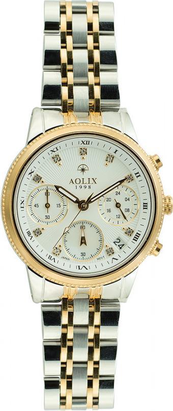 Đồng hồ Aolix AL-7069L nữ dây thép bạc phối vàng 6 kim