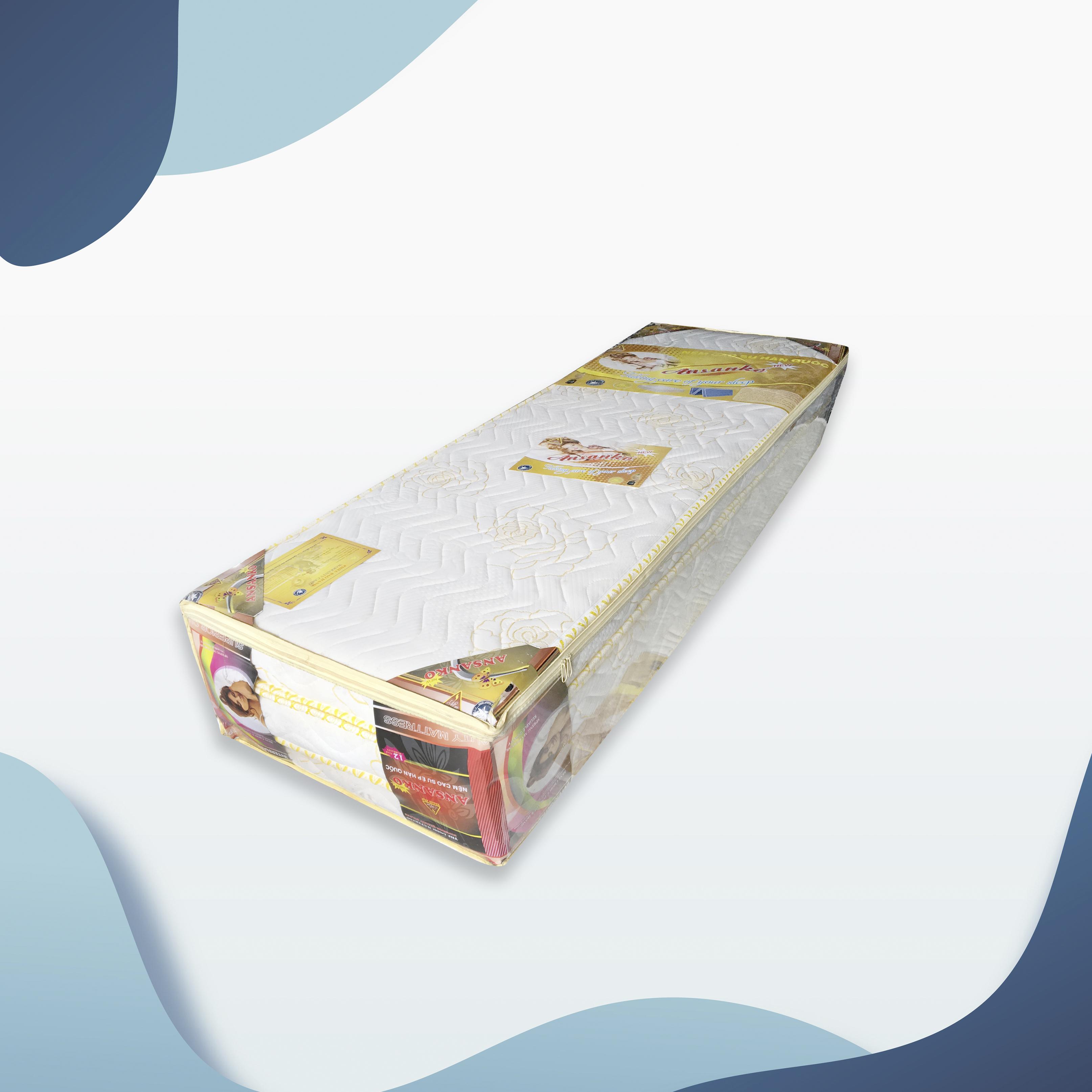 Nệm cao su Ansanko 1m4 gấp 3 (1.4mx2.0m) vải gấm Damask cao cấp có chần - Hoa văn màu sắc ngẫu nhiên.