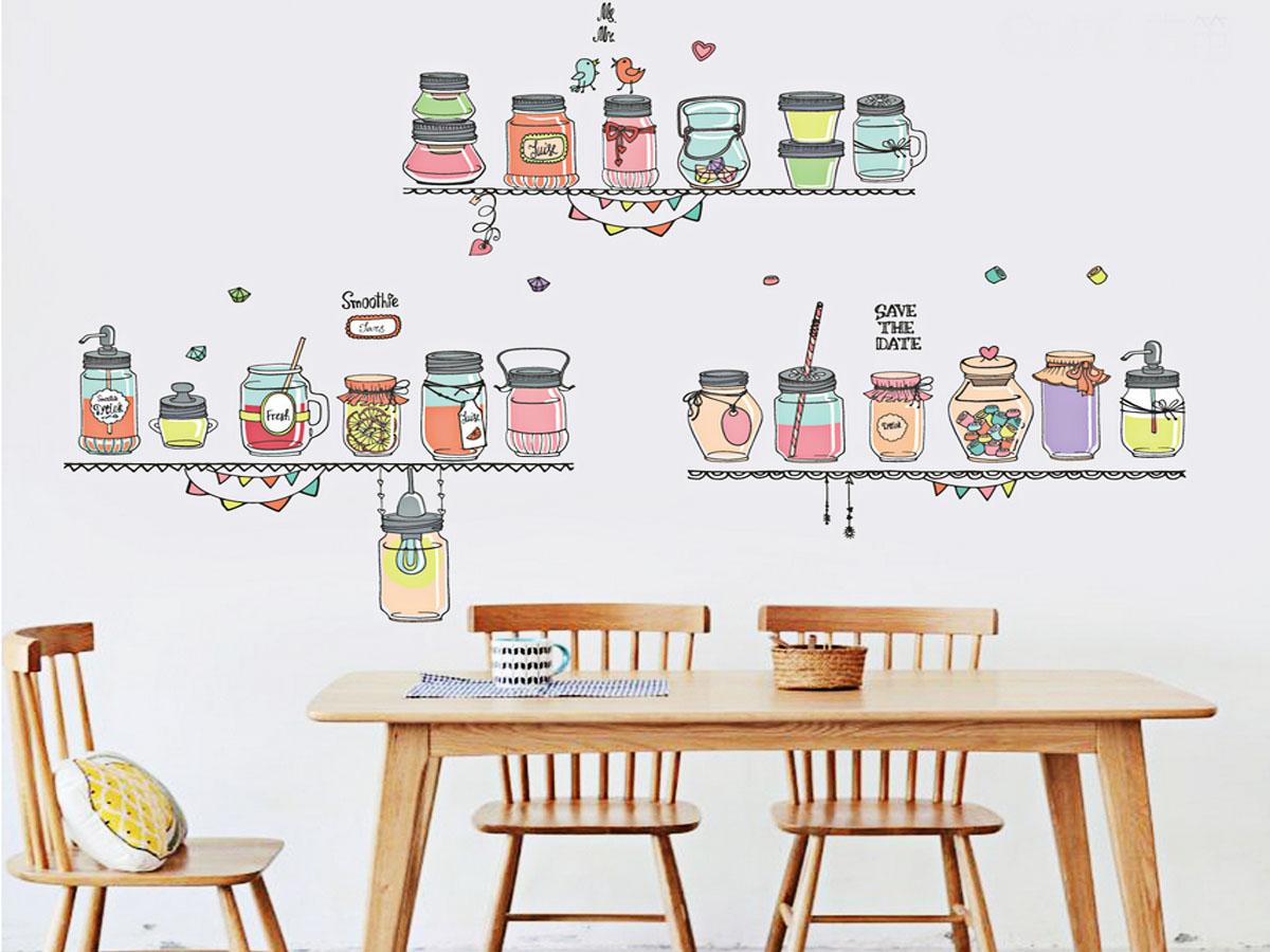 decal dán tường kệ nước hoa quả