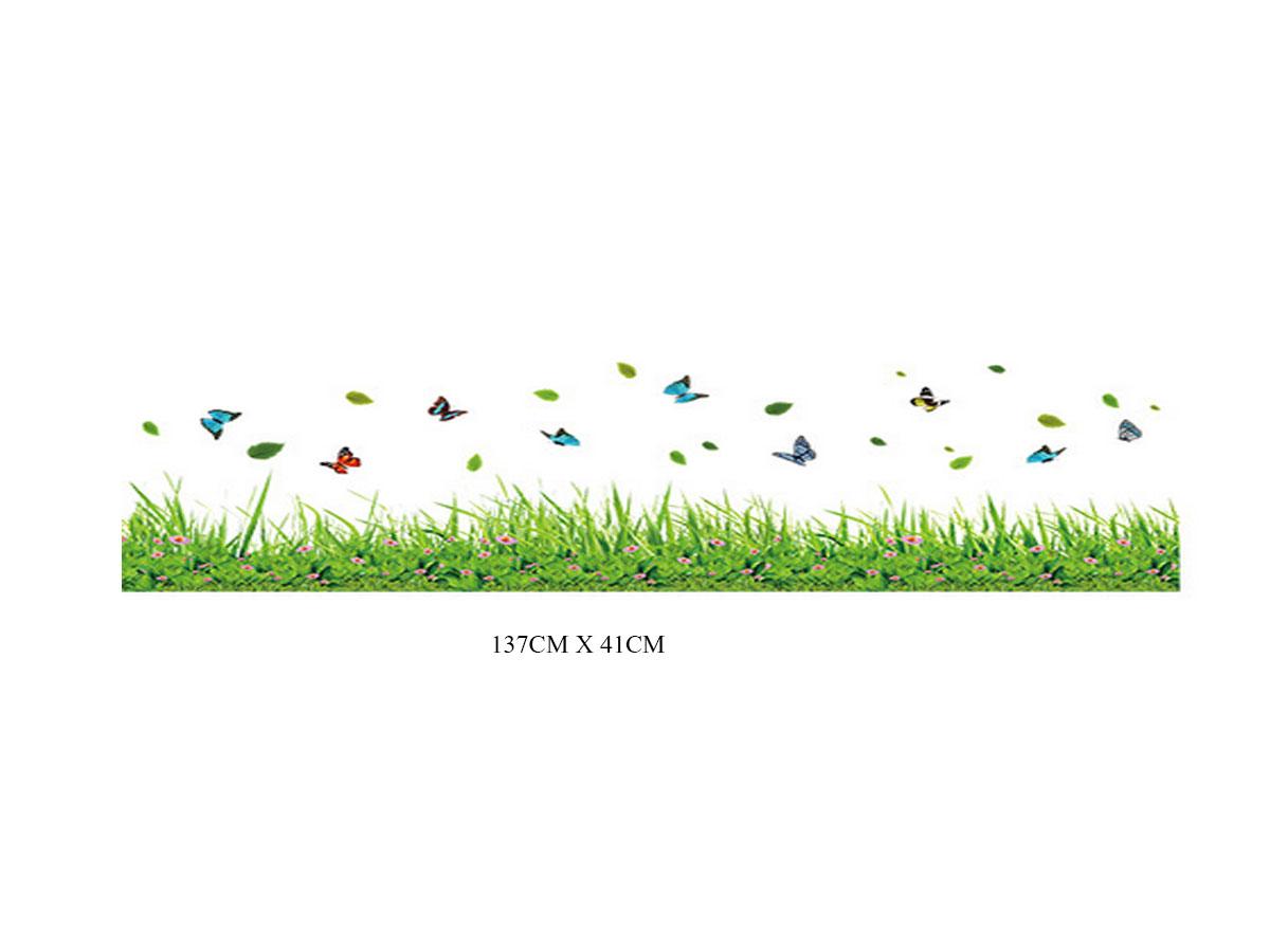 Decal dán tường chân rào cỏ xanh chấm hoa li ti màu hồng