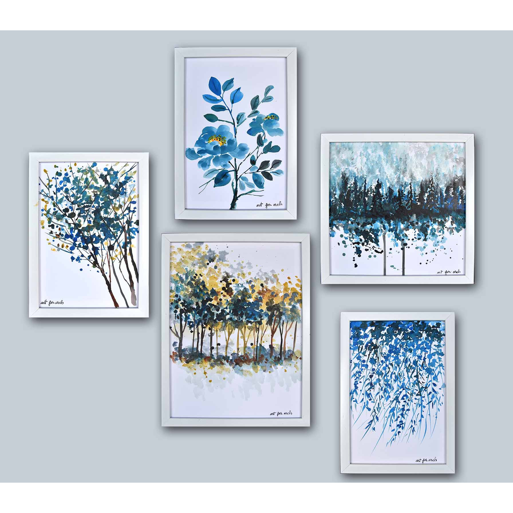 Tranh sơn dầu bộ hoa xanh
