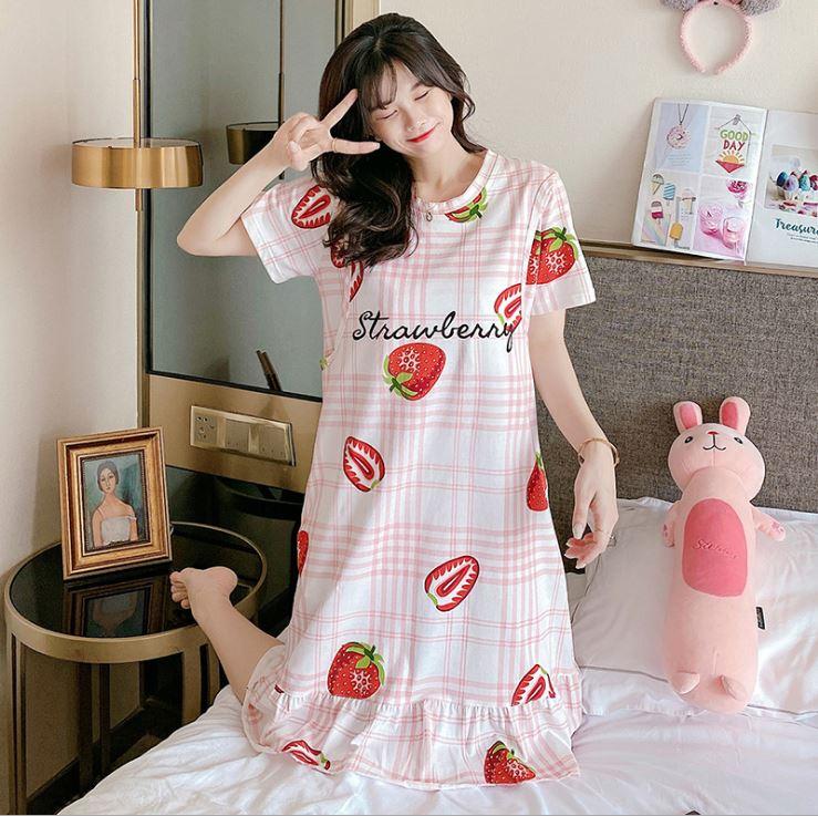 Váy, Đầm Bầu Và Sau Sinh Azuno V2113 Chất Liệu Cotton Có Khe Mở Cho Con Bú Mặc Hè Cực Mát