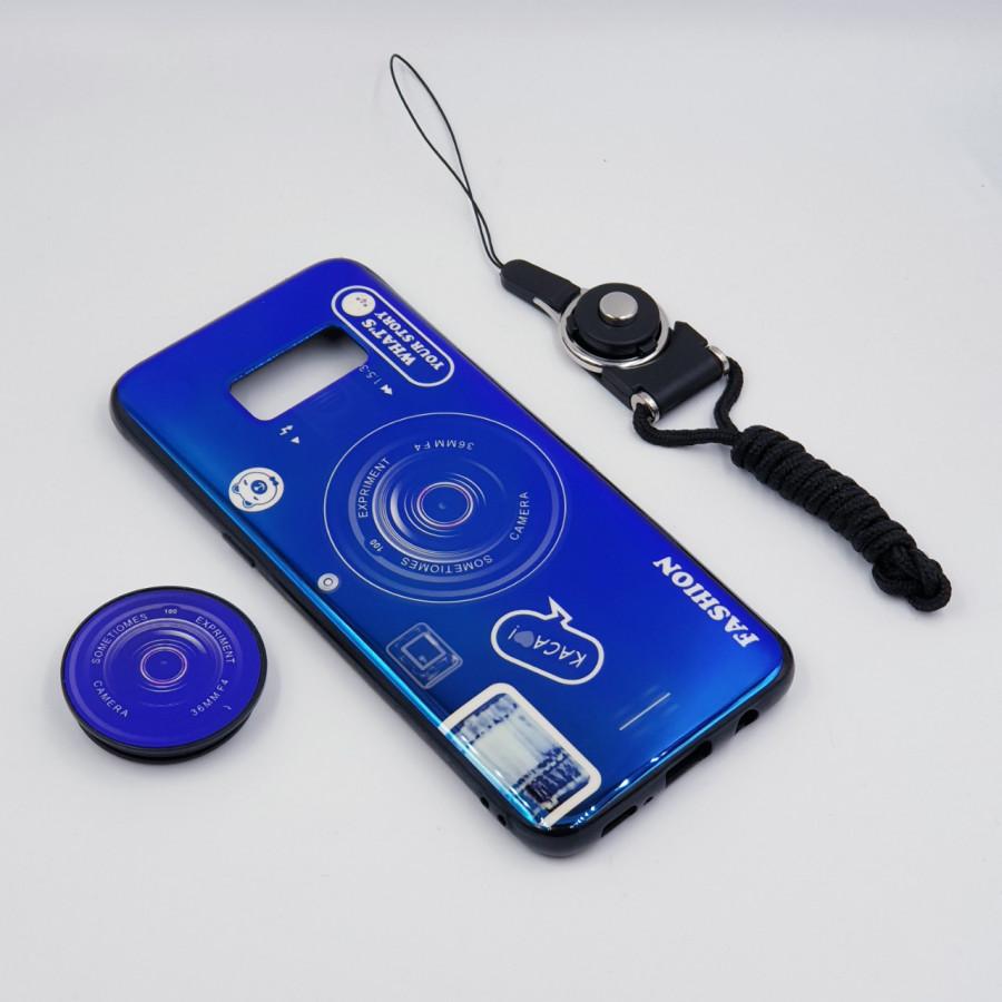 Ốp lưng hình máy ảnh kèm giá đỡ và dây đeo dành cho Samsung Galaxy S7,S7 Edge,S8,S8 Plus,S9,S9 Plus,S10,S10 Plus - Samsung Galaxy S8 Plus - Xanh