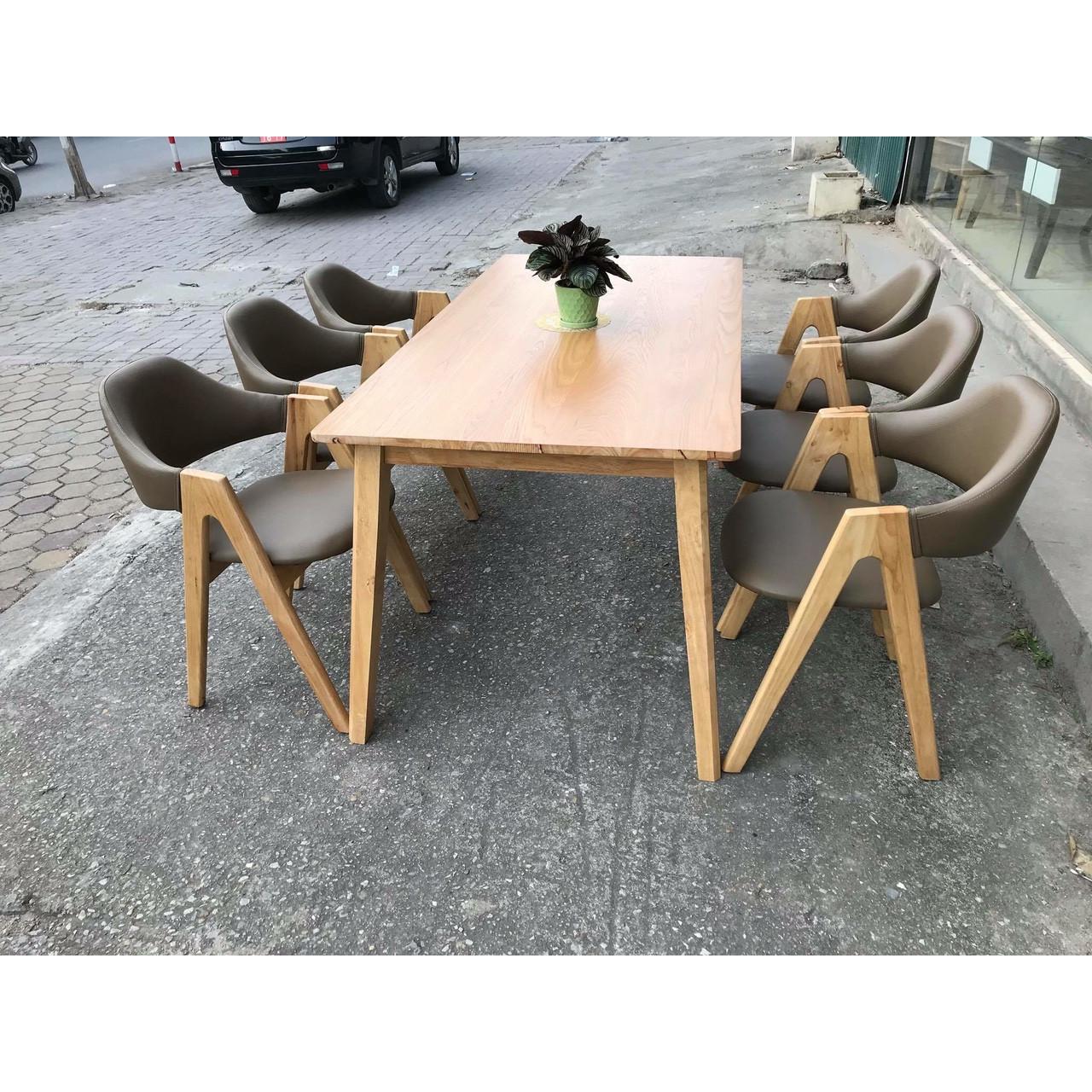 Bộ bàn ăn chữ a 6 ghế