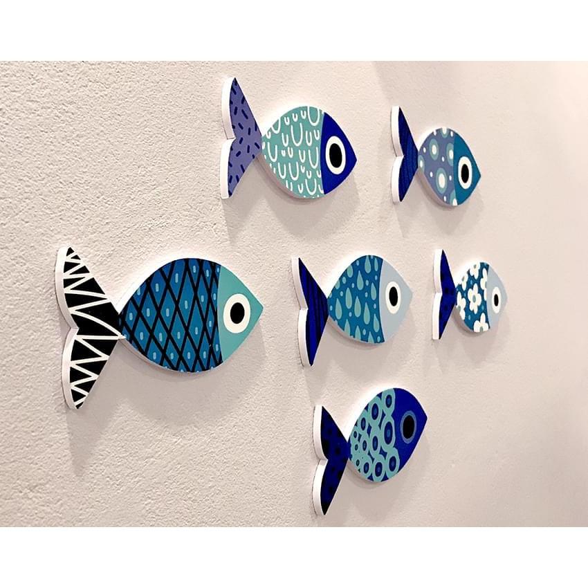 BỘ TRANH TREO TƯỜNG BLUE FISH PHONG CÁCH NHẬT BẢN, TRANH TREO TƯỜNG TRANG TRÍ PHÒNG KHÁCH, PHÒNG NGỦ, PHÒNG ĂN