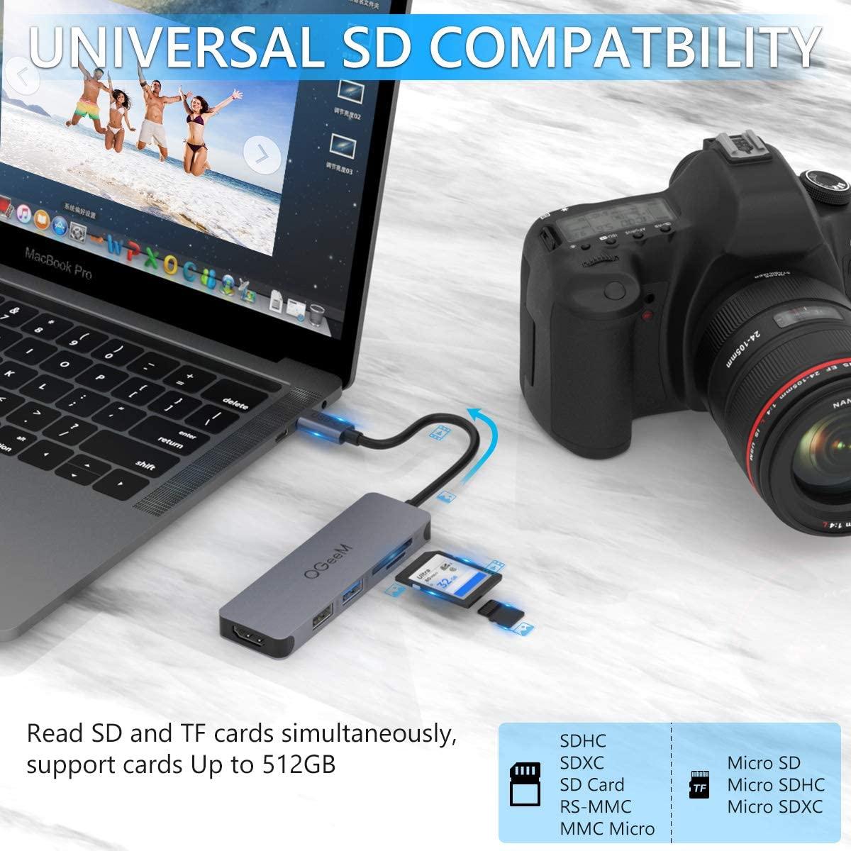 Bộ Hub QGeeM đa năng 5 trong 1 dành cho MacBook Pro 13/15 Surface Go, USB C Adapter - Hàng chính hãng