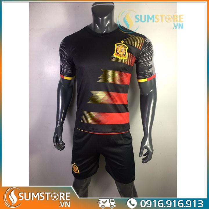Bộ quần áo đá banh Tuyển Tây Ban Nha Đen Sọc Euro - Đồ đá banh 2020