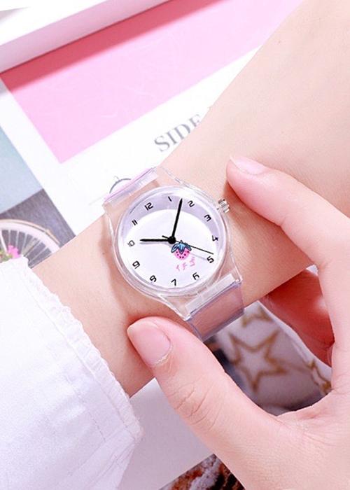Đồng hồ nữ trái dâu Nhật Bản dây trong suốt 4 màu dễ thương
