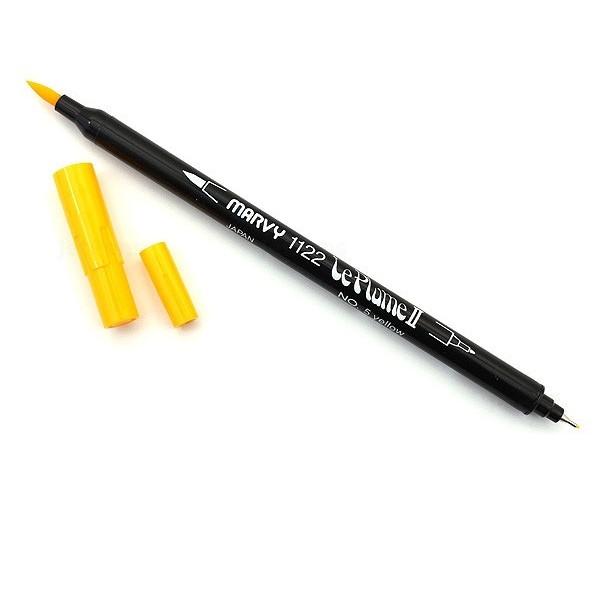Bút lông hai đầu màu nước Marvy LePlume II 1122 - Brush/ Extra fine tip - Yellow (5)