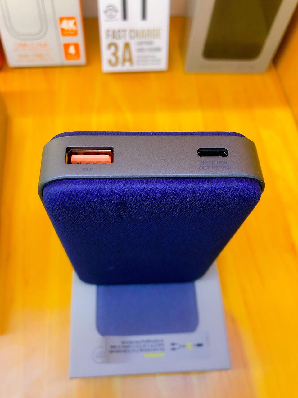 Pin Dự Phòng Eloop E33 10.000mAh,USB- PD 18W- chính hãng - MÀU XANH