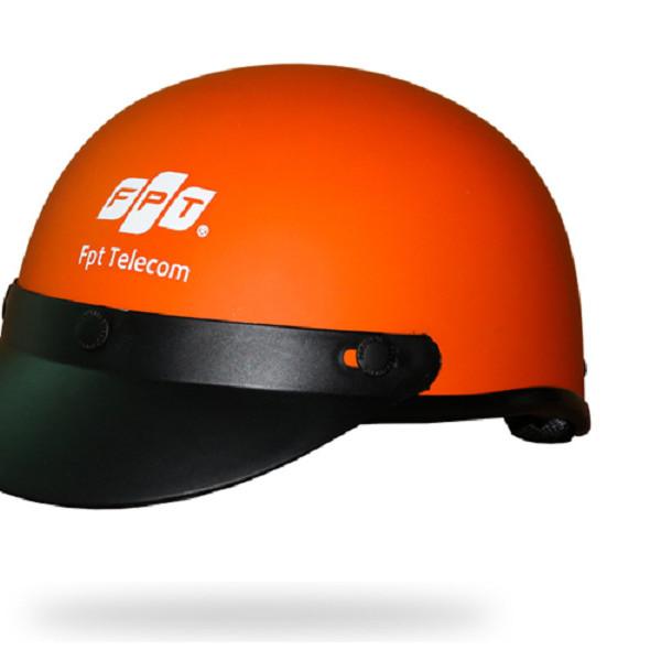 Nón Bảo hiểm 1/2 đầu màu cam sành điệu