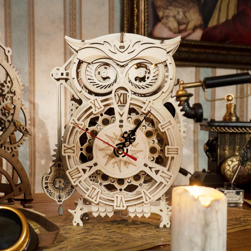 Mô hình Đồng hồ cơ hình Cú Owl Clock LK503 Battery Mechanical