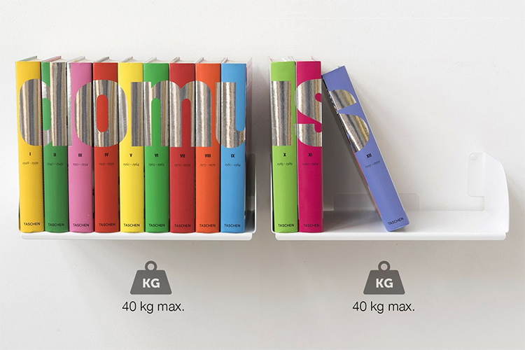 Combo 4 Kệ Sách Treo Tường Smlife Chữ D 45 (45 x 25 x 15 cm) - Trắng