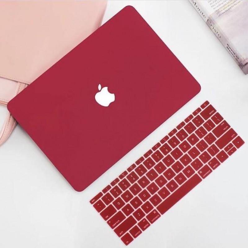 Combo ốp + phủ phím Silicon màu Đỏ Đô bảo vệ cho Macbook đủ dòng