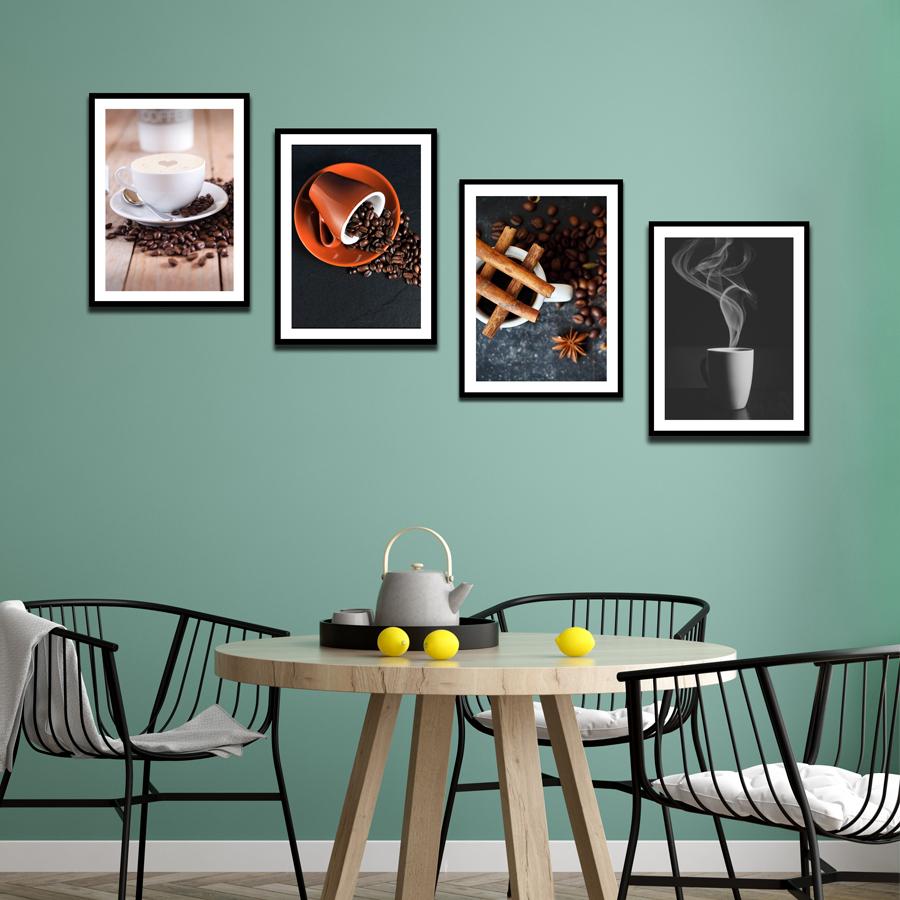 Bộ 4 Khung Hình Kính Treo Tường Tặng bộ ảnh như hình mẫu, Đinh Treo Tranh và sơ đồ treo - Khung Hình Phạm Gia PGCTK13A