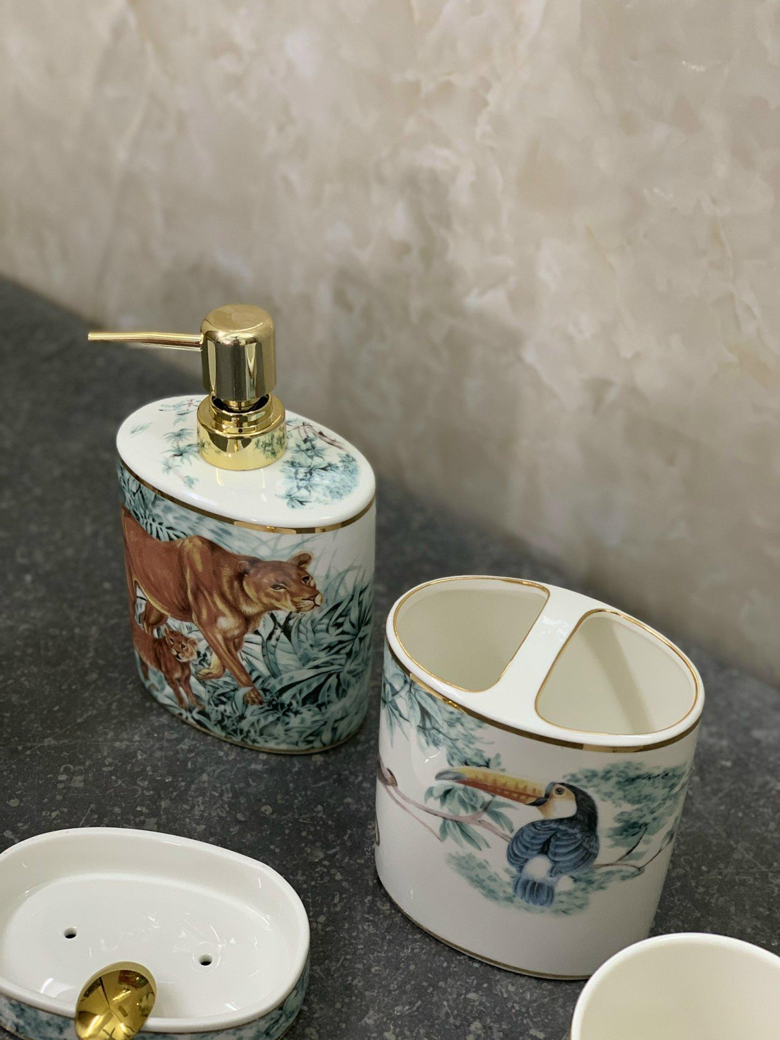 Bộ gốm sứ để xà bông và kem đánh răng phòng tắm cao cấp LI-CD685 – Phong cách độc đáo, sang trọng