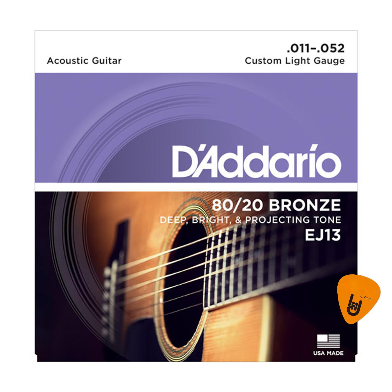 D'Addario EJ13 - Bộ Dây Đàn Acoustic Guitar Cỡ 11 (.011-.052) - Chính Hãng (80/20 Bronze Strings) - Kèm Móng Gảy DreamMaker