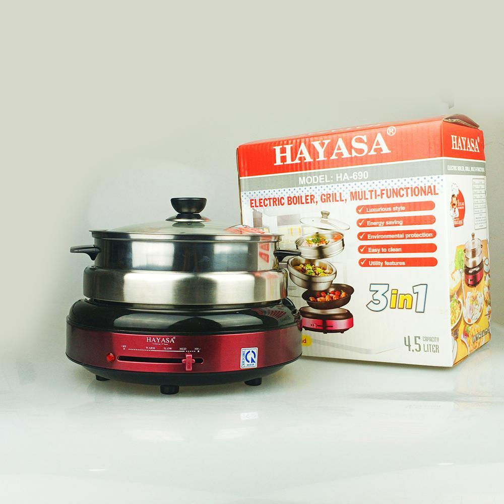 Nồi lẩu điện đa năng 3 in 1 nướng hấp 4.5lit Hayasa, công suất 1300W-Hàng chính hãng