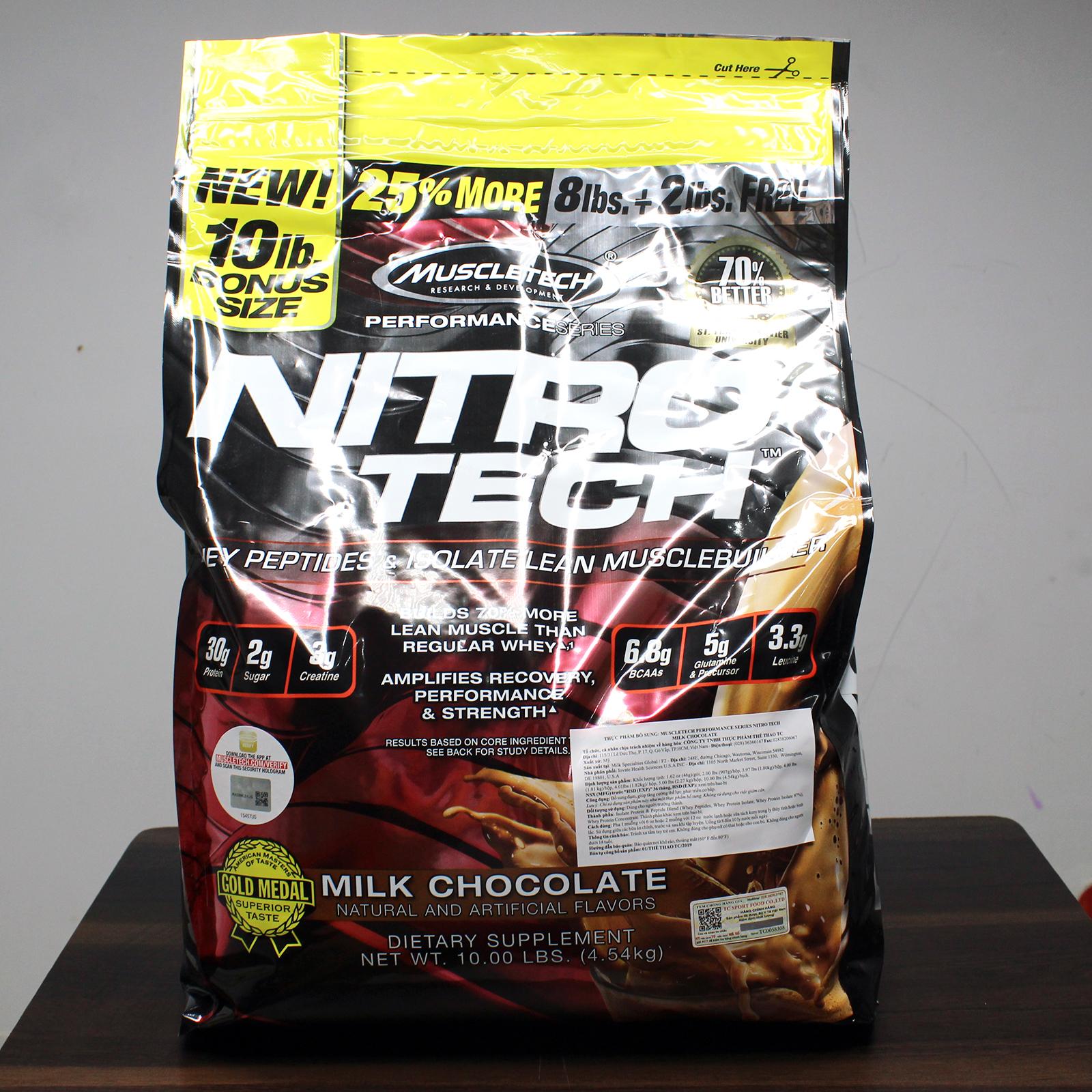 Combo Sữa tăng cơ giảm mỡ cao cấp Nitrotech hương Chocolate bịch lớn 10lbs 100 lần dùng hỗ trợ tăng cơ, giảm cân, đốt mỡ, phục hồi cơ bắp & Bình lắc 600ml (Mẫu ngẫu nhiên)