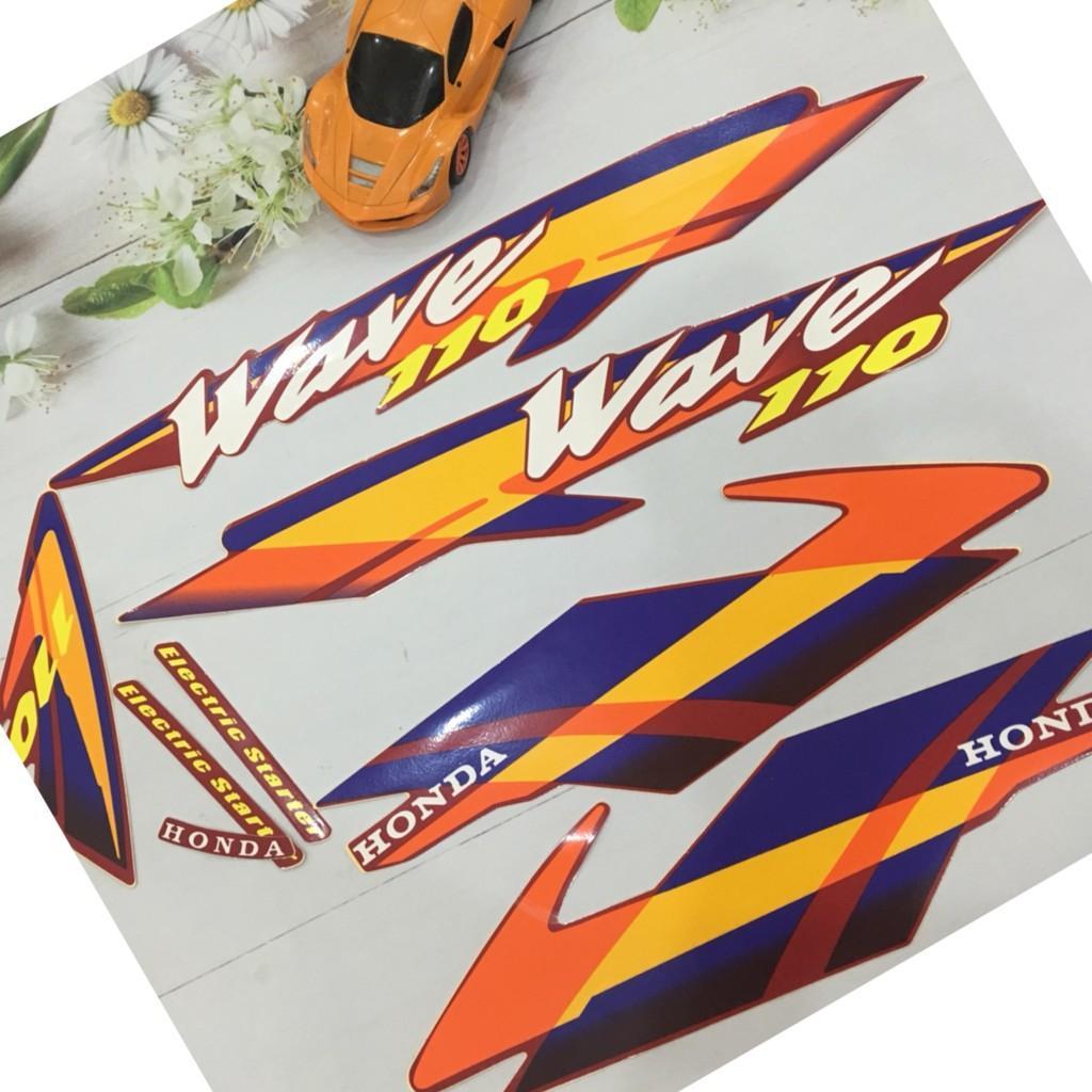 Trọn bộ tem xe Wave 110 màu cam xanh tân trang xe như mới A80