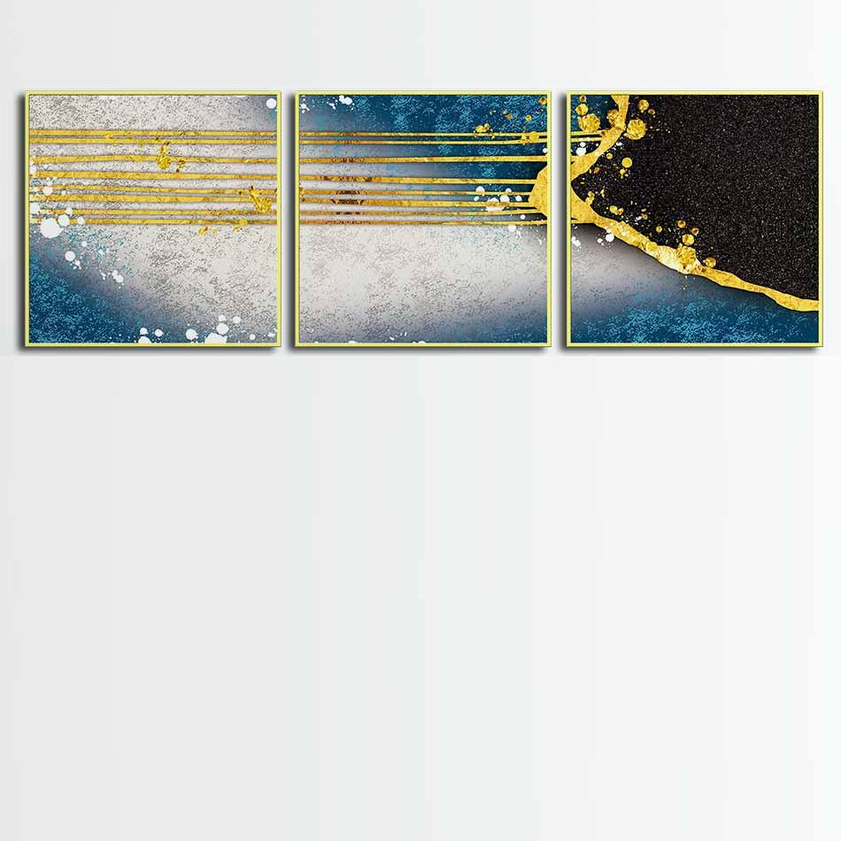 Bộ 3 tranh canvas treo tường Decor Họa tiết vàng trừu tượng - DC032