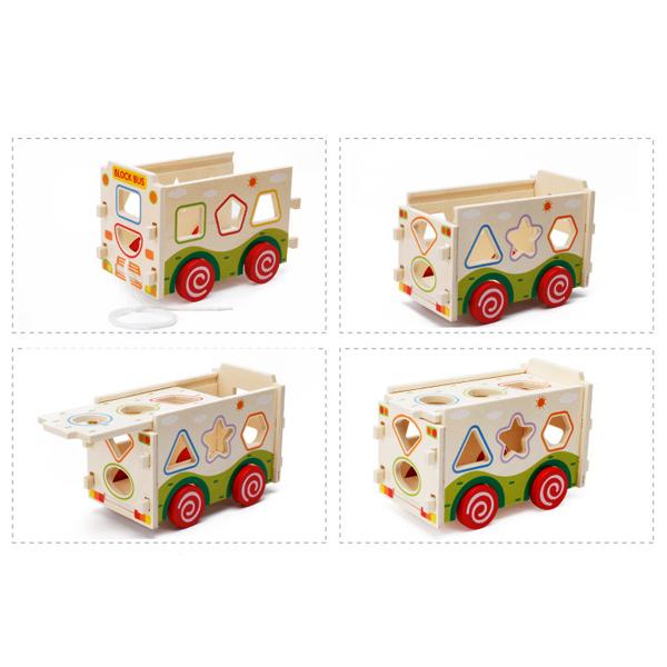 Đồ Chơi Gỗ - Xe bus thả hình lắp ráp - đồ chơi kỹ năng cho bé phát triển trí não