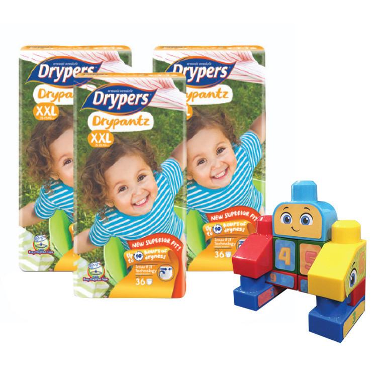 Combo 3 Tã Quần Drypers Drypantz XXL36 36 Miếng  Tặng Bộ ghép hình Fisher Price