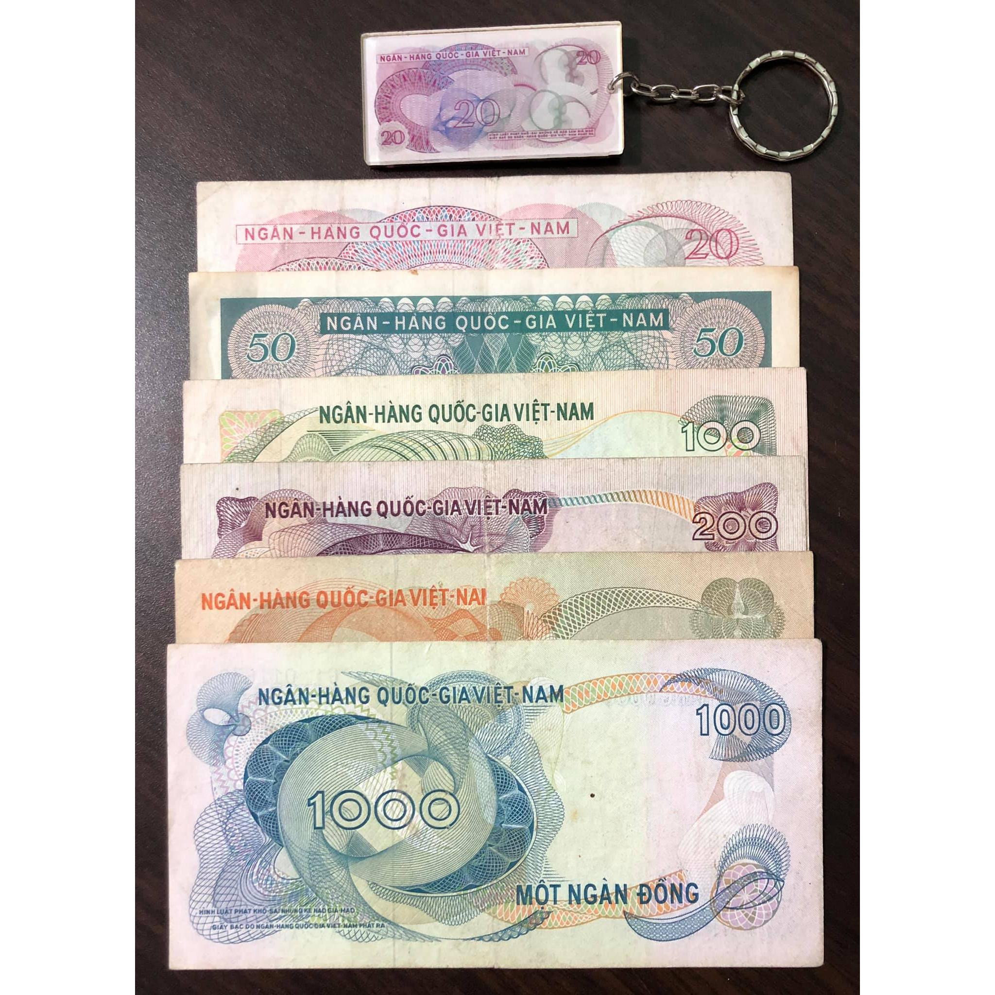 Đủ bộ tiền cổ Việt Nam 6 tờ hoa văn sưu tầm kèm móc khóa tiền cổ