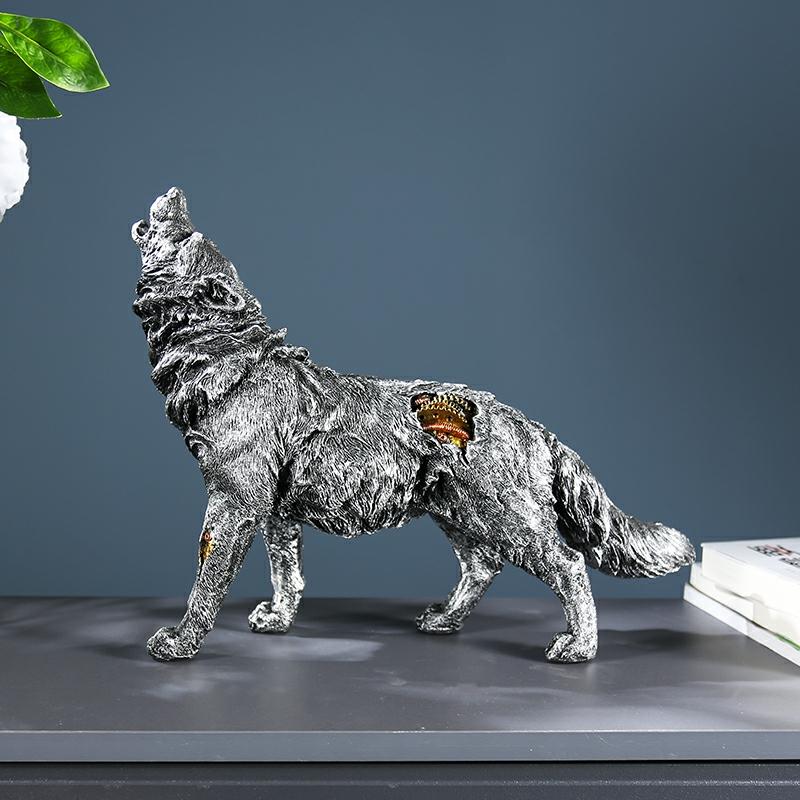 Tượng chó sói đặt bàn T07