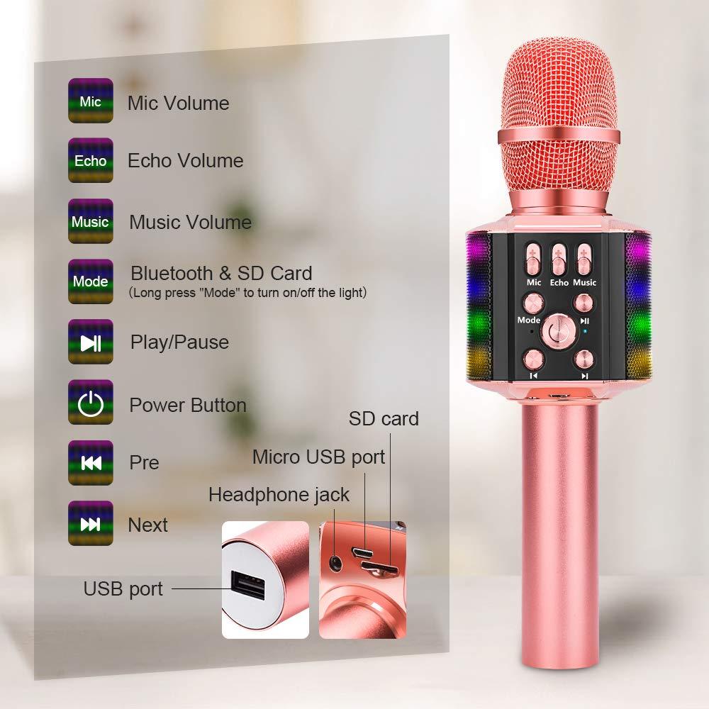Microphone Karaoke Portable Bluetooth Không Dây Wireless Loa Speaker Đèn Led 4 in 1 cho Máy Hát Android IOS PC Tablet Bonaok - Hàng chính hãng