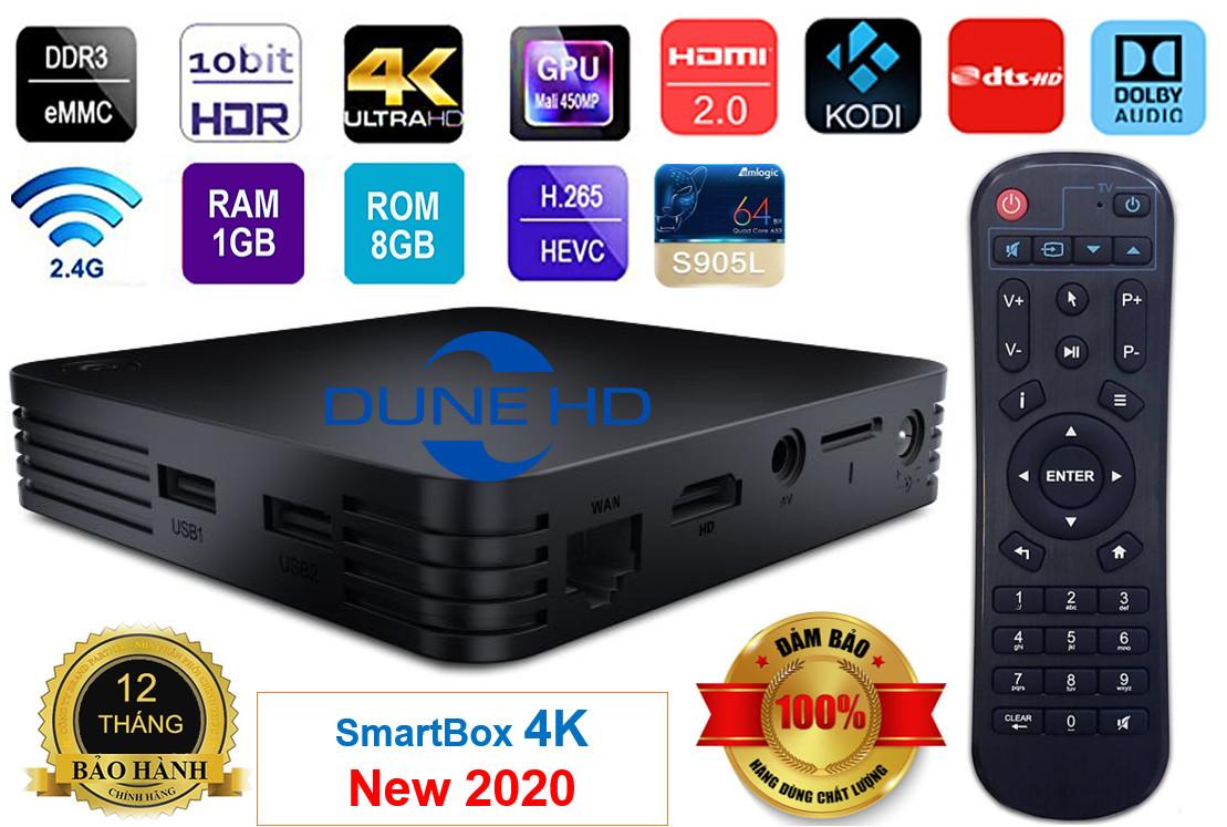 Android Tivi Box Dune HD Smartbox 4K utra , Android OS - New 2020 Ram 1, ROM 8G - Chuyên phim cao cấp- HÀNG CHÍNH HÃNG