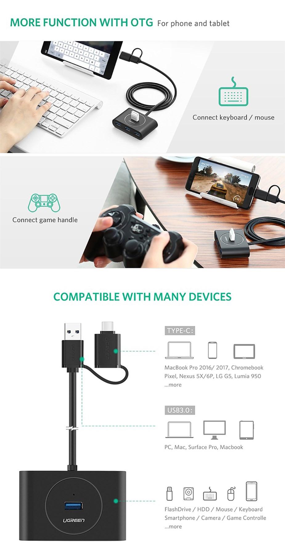 Bộ Chia USB 3.0 4 Cổng - Kết Hợp USB Type - C Ra 4 Cổng USB 3.0 Ugreen - Hàng Chính Hãng