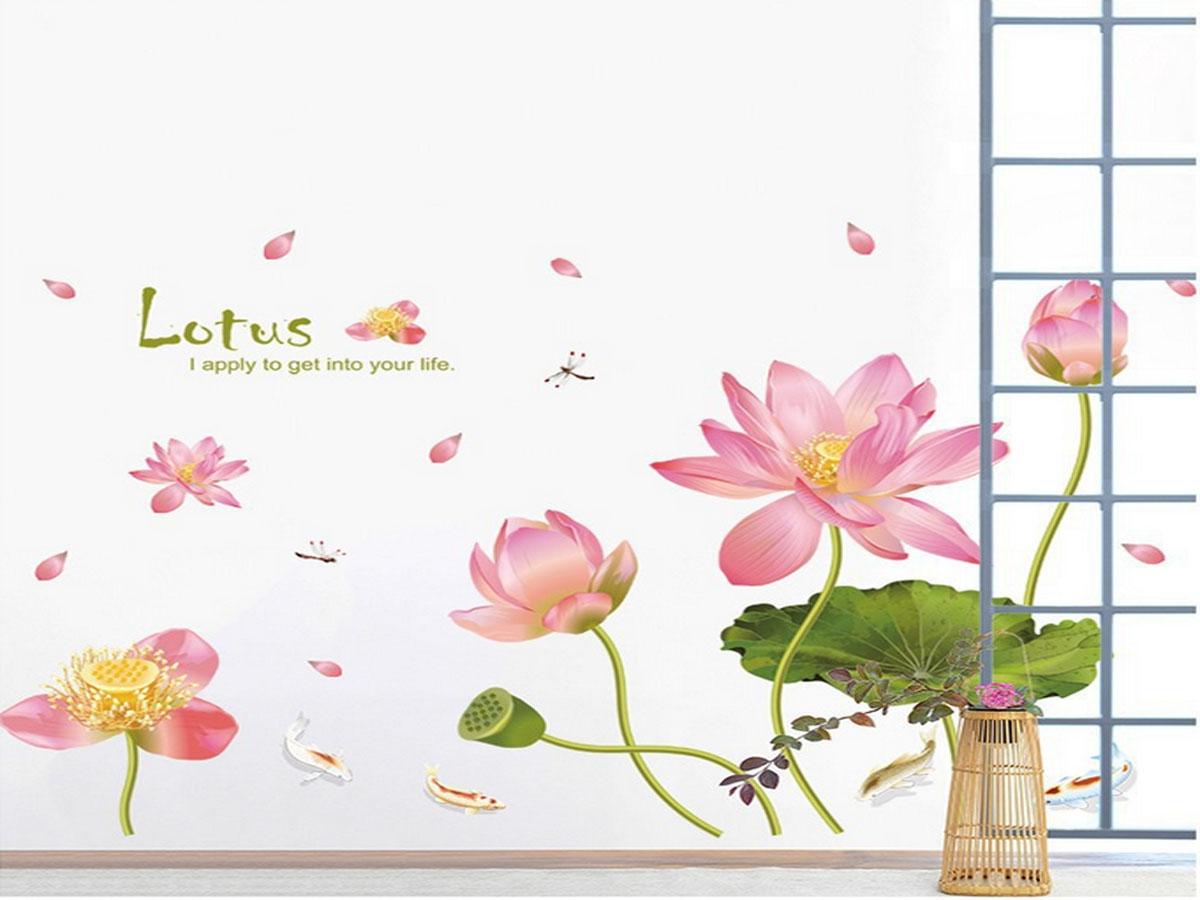 decal dán tường sen hồng xl8292