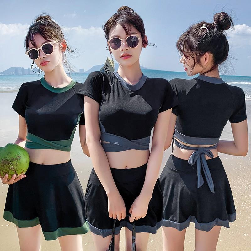 Đồ Bơi Nữ, Váy Xòe Áo Tay Ngắn 2 Chi Tiết, Bộ Đồ Bơi Thể Thao, Đồ Bơi Phong Cách Hàn Quốc