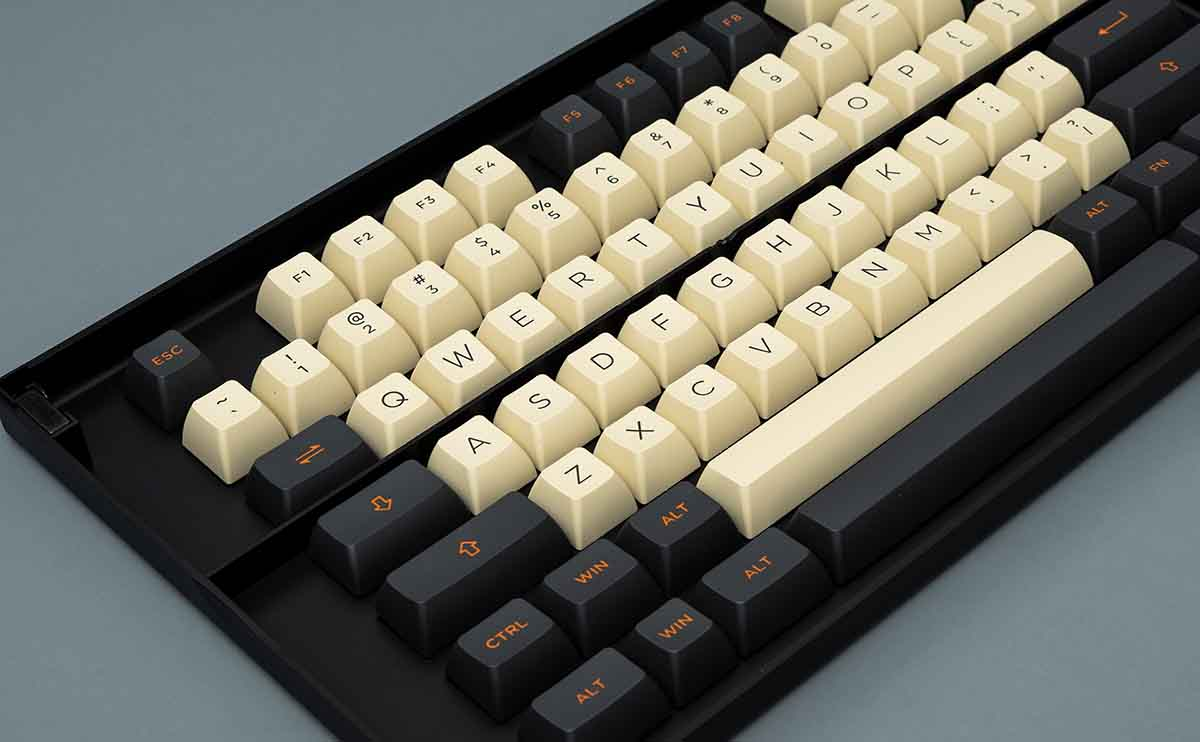 Keycap AKKO Carbon Retro (PBT Double-Shot/ASA profile/158 nút) - Hàng Chính Hãng