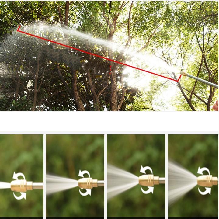 Bộ dây vòi xịt nước rửa xe, tưới cây đa năng, tăng áp 3 lần, loại 3m, 5m 206701-2Dđầu đồng, cút+ tặng đai