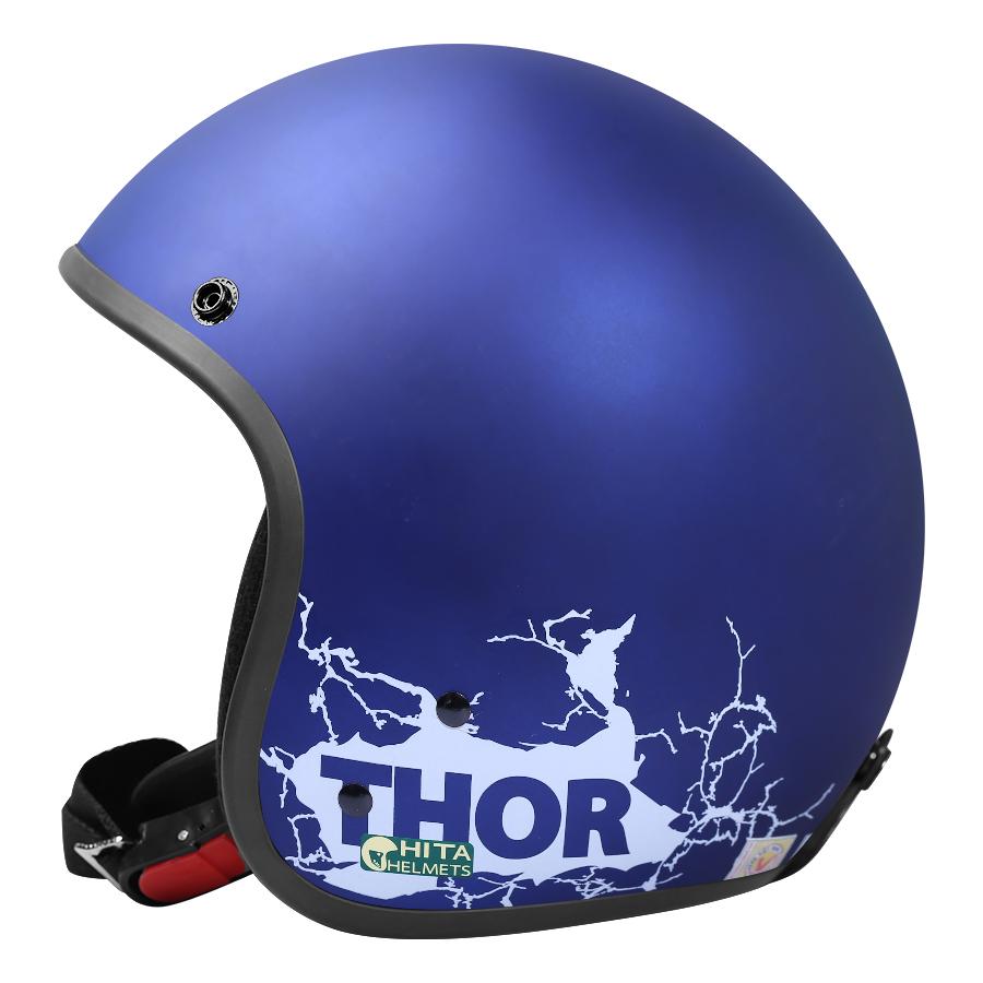 Mũ Bảo Hiểm Chita 3/4 CT1 - Xanh Tiger Sơn Mờ Tem Thor Màu Trắng