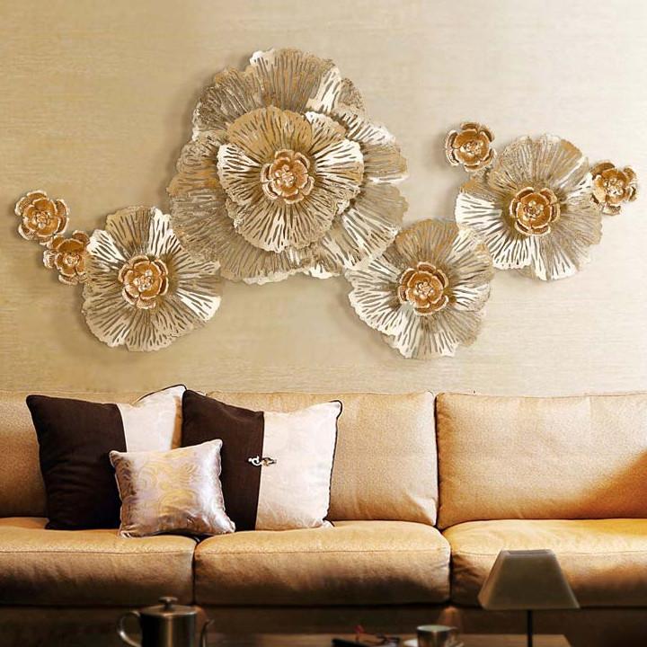 Phù điêu - tranh sắt treo tường Hoa mẫu đơn vàng đẹp.