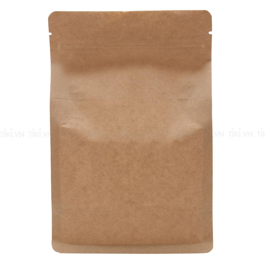 Túi Zip Giấy Kraft Nâu  Đáy Bằng Có Cửa Sổ (1Kg)