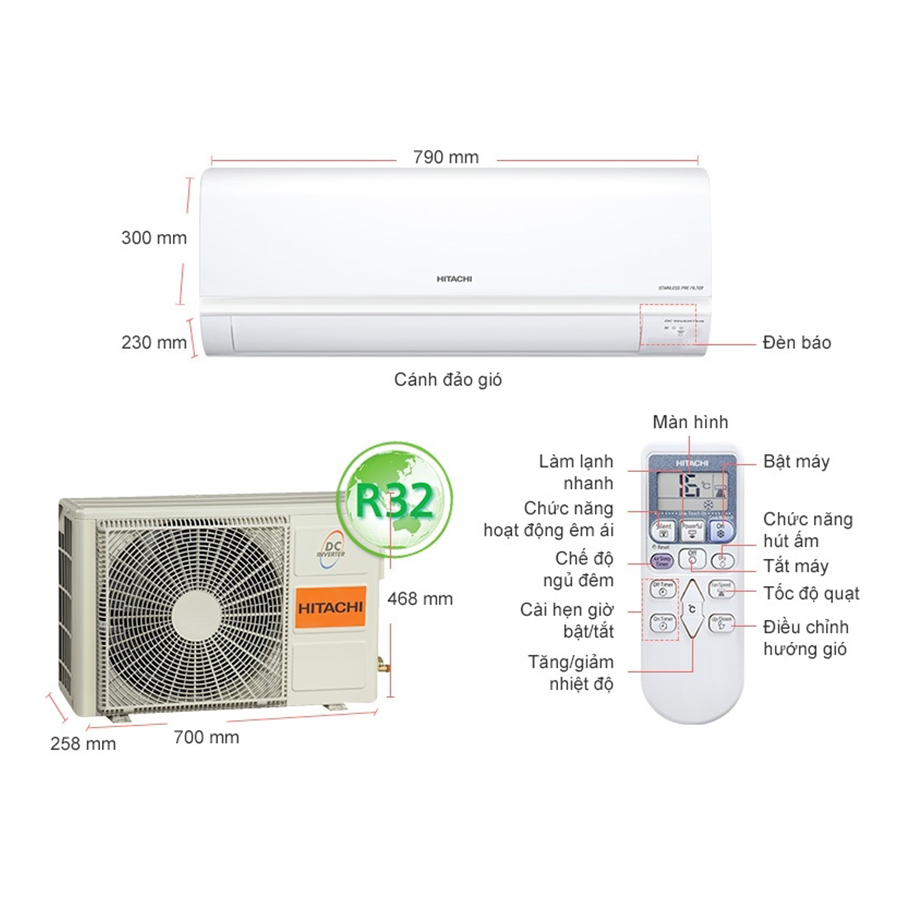 Máy Lạnh Inverter Hitachi RAS-X18CGV (2.0HP) - Hàng Chính Hãng