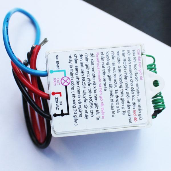 Bộ 01 công tắc điều khiển từ xa RC5H + Remote 4 nút, Điện Áp 12V, Công suất 4A