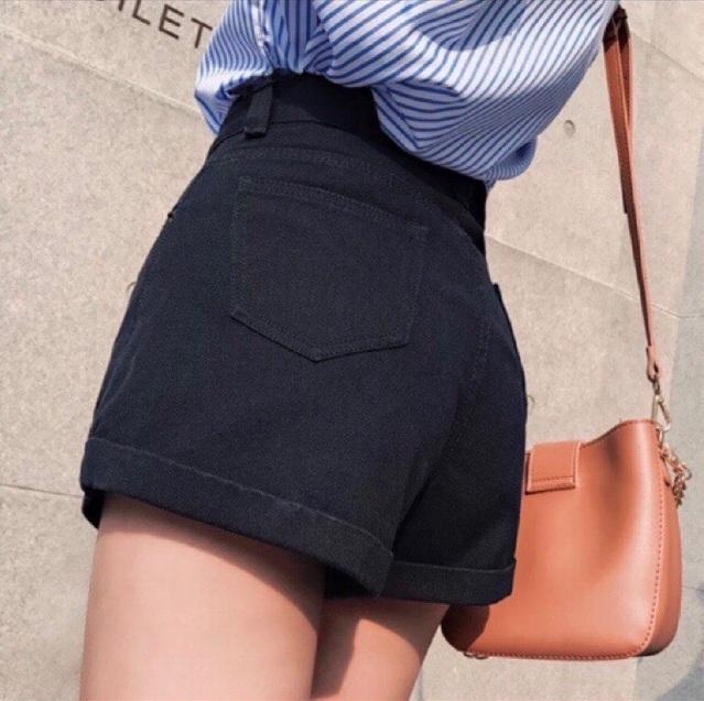 Quần Shorts Jeans Nữ Màu Đen Co Giãn