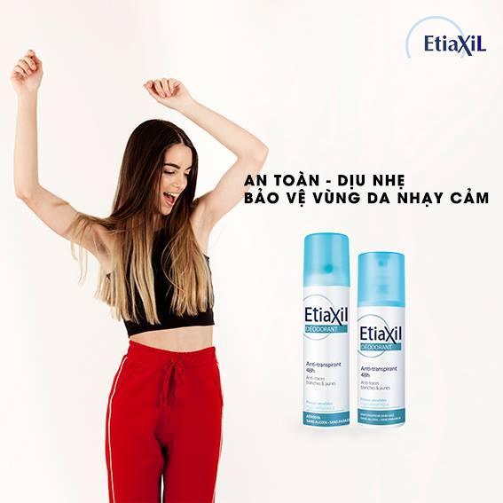 Xịt Khử Mùi Hàng Ngày Etiaxil Déodorant Anti-Transpirant 48h Anti-Traces Blanches & Jaunes 150ml (Dạng Xịt Phun Sương) + Tặng 1 Lưới Tạo Bọt Rửa Mặt