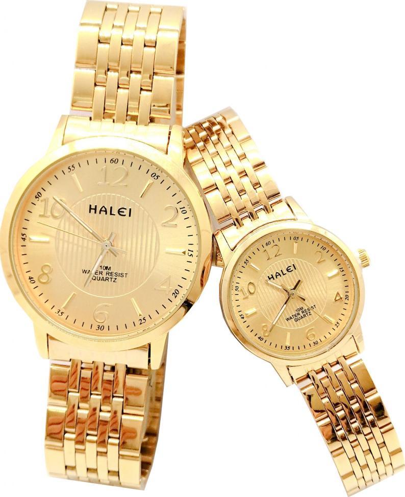 Cặp Đồng Hồ Nam Nữ Halei HL564 Dây vàng mặt vuông Tặng pin Nhật sẵn trong đồng hồ  Móc Khóa gỗ Đồng hồ 888 y hình - Vàng - Vàng