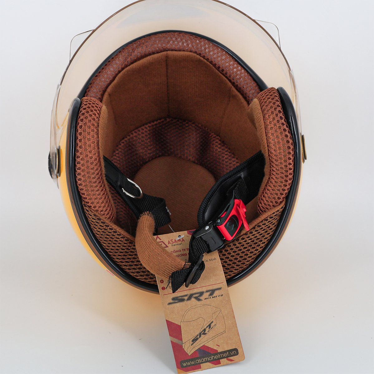 Mũ bảo hiểm 3/4 SRT 368K viền đồng lót nâu cao cấp có thông gió - kính càng - Vàng dành cho người đi phượt