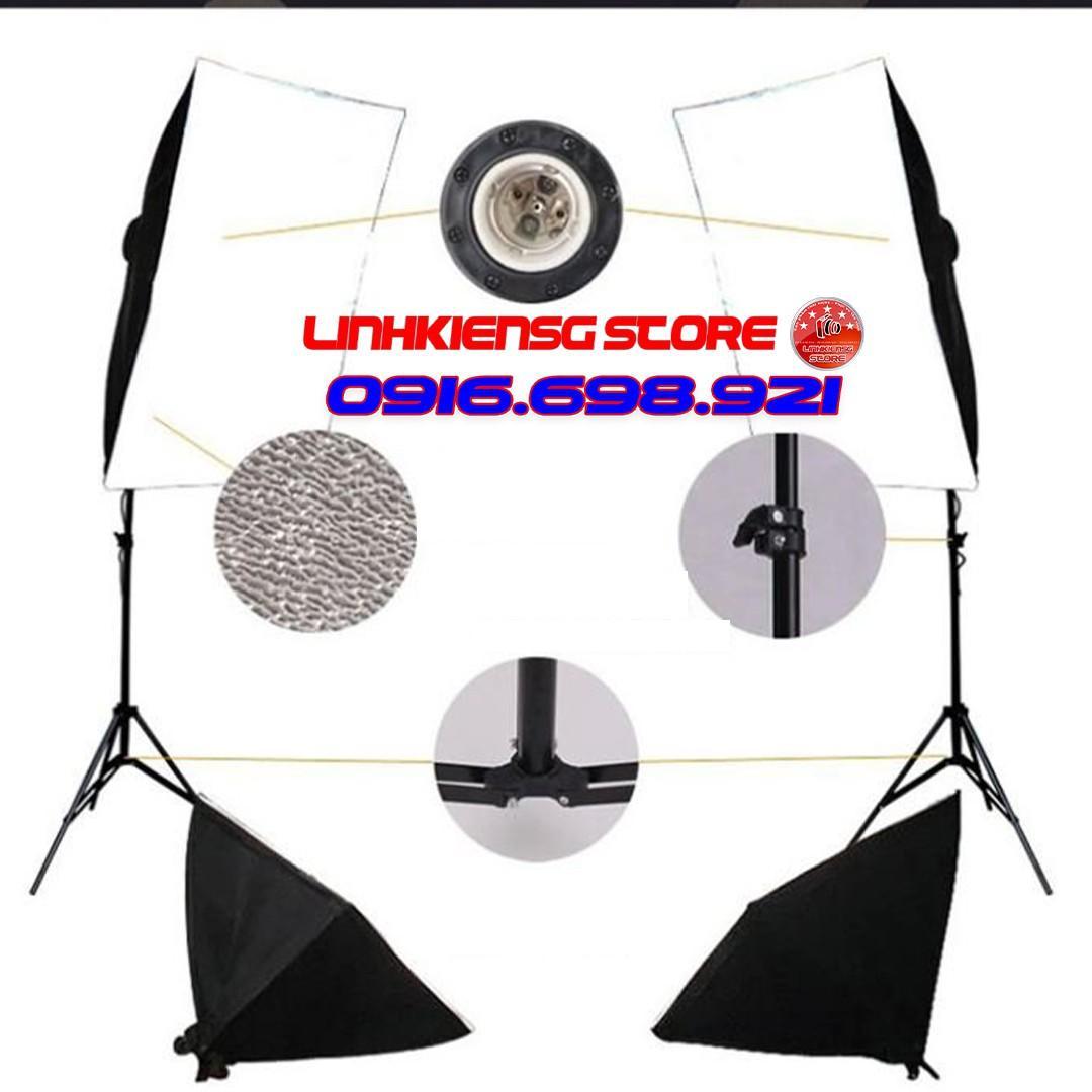 Bộ đèn studio kèm softbox 50x70 có chân đèn, hỗ trợ hắt sáng chụp ảnh sản phẩm (Không bóng đèn)