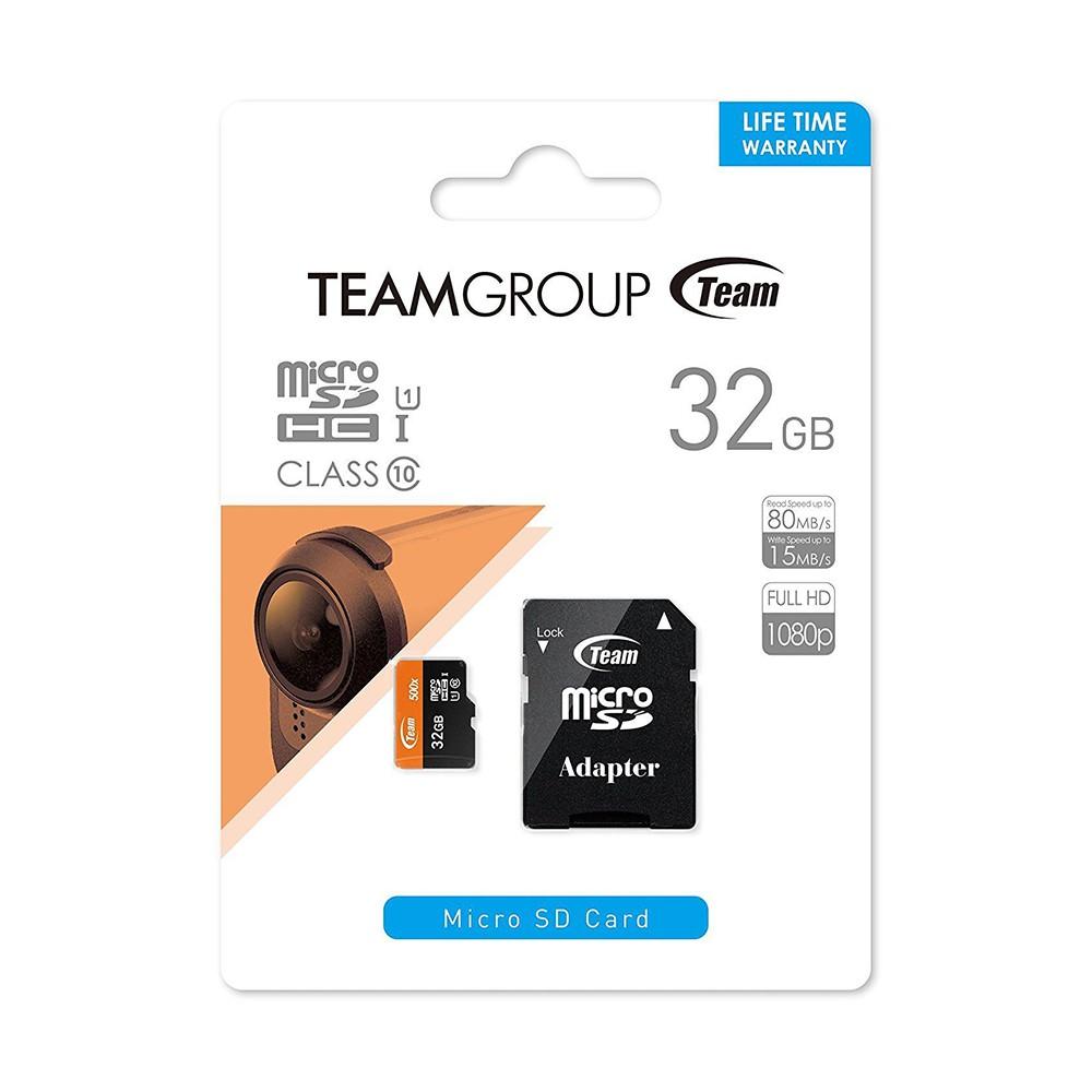 Thẻ Nhớ 32GB Micro SDHC Team 500x Class 10 U1-80MB/s (Đen Cam) - Hàng Chính Hãng + Tặng Đèn Led