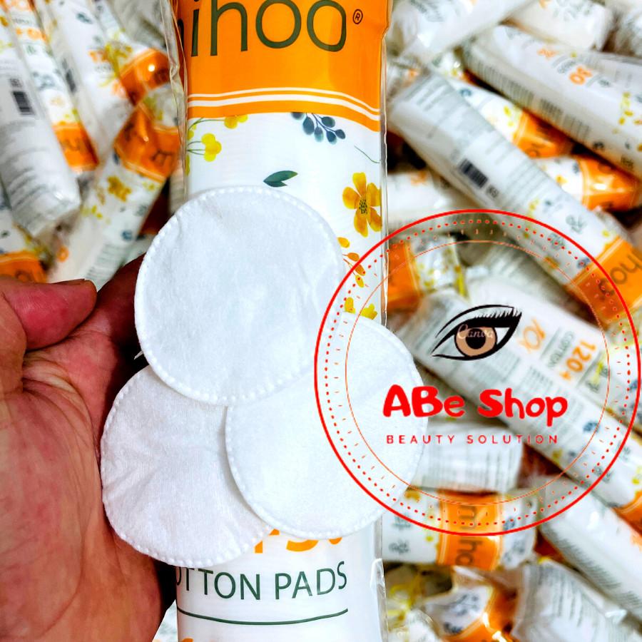 BÔNG TẨY TRANG MIHOO vàng 150 miếng - 100% Cotton mềm mịn