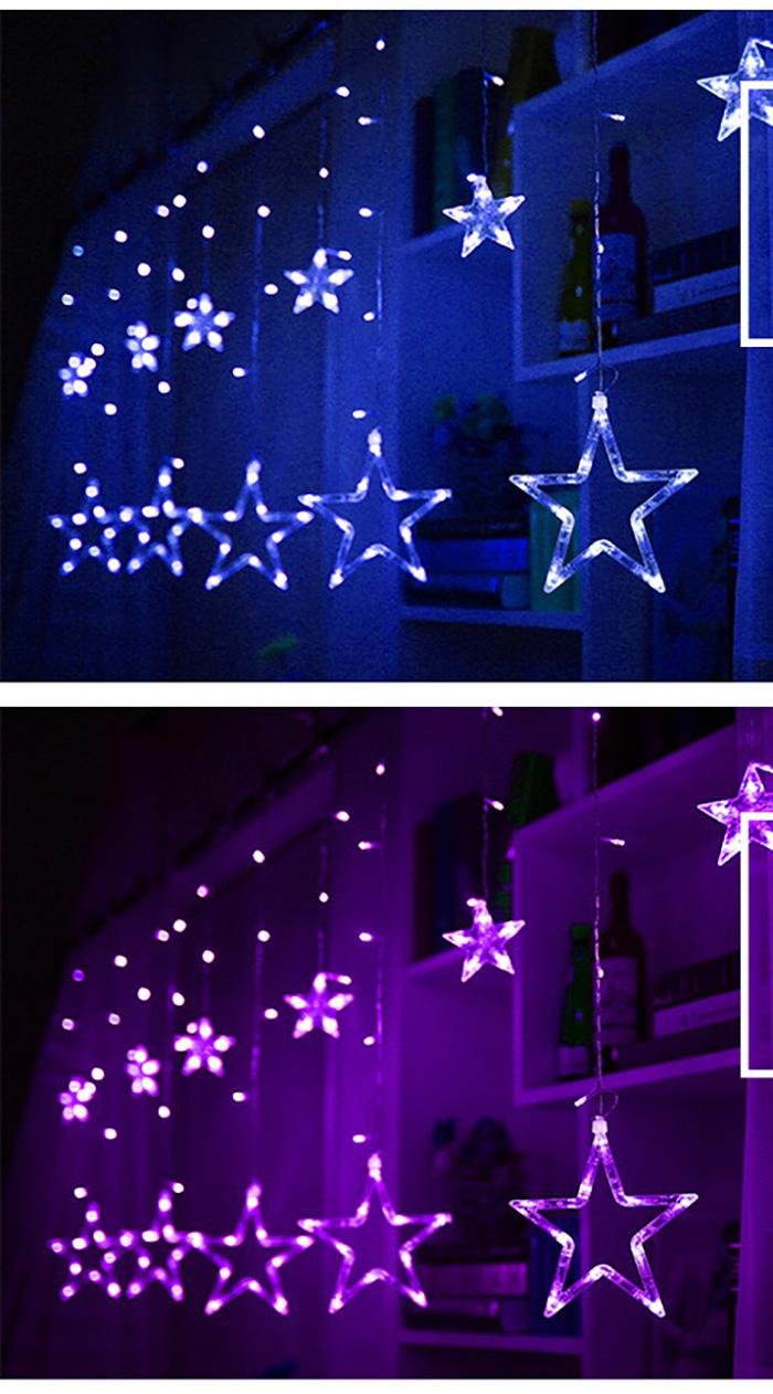 Dây Đèn Led - Đèn Led Trang Trí Hình Ngôi Sao Thả Rèm Không Thấm Nước Trang Trí Cho Các Bữa Tiệc, Phòng Ngủ, Giáng Sinh, Lễ, Tết